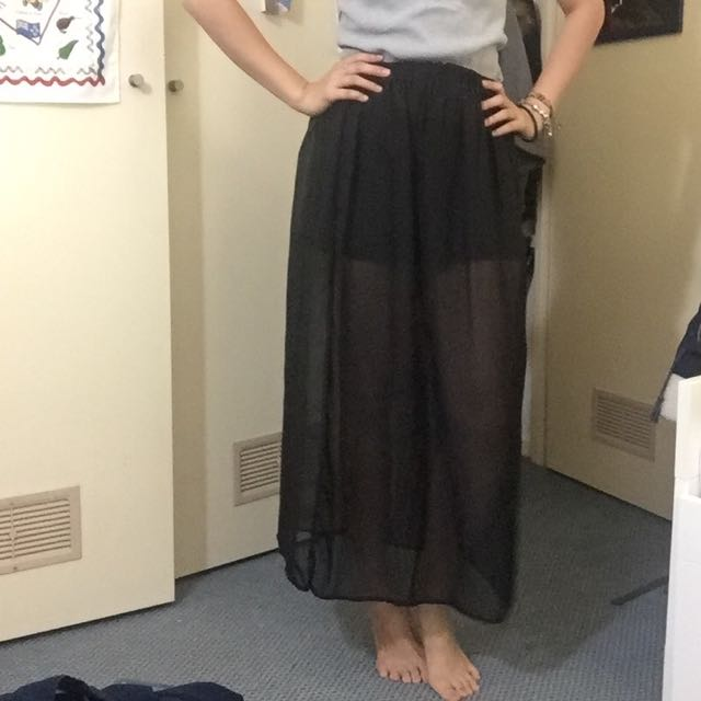 2 Pieces Side Split See Through Sheer Black Skirt