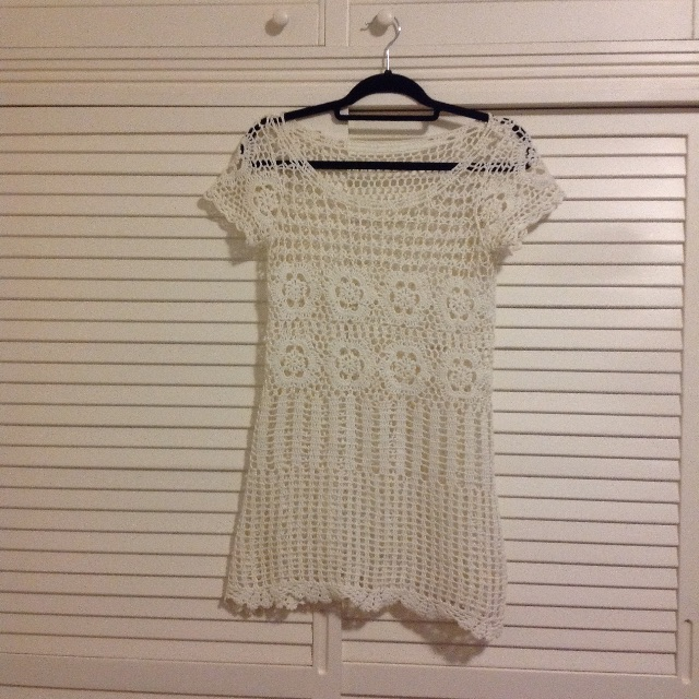 NEW White lace crochet summer mini dress