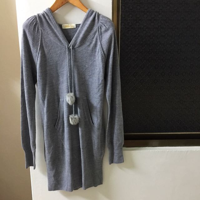 全新日本購入針織連帽灰色洋裝