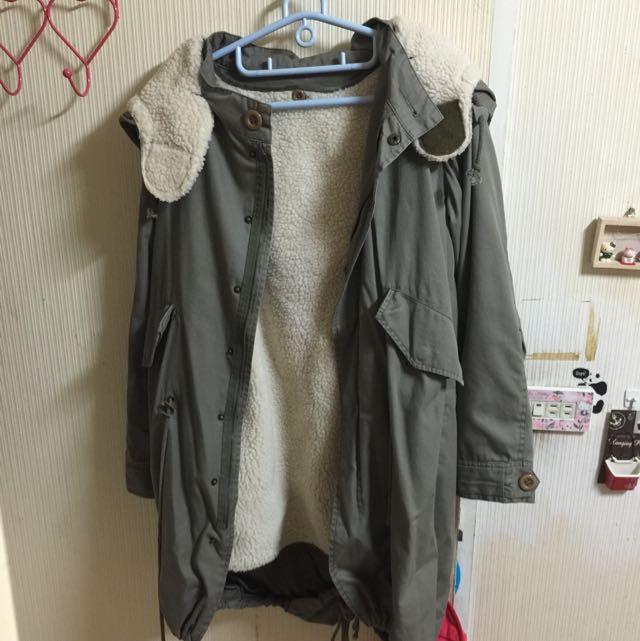 超保暖長版日系軍外套