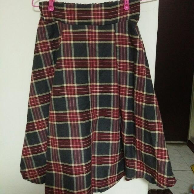 紅灰格子裙