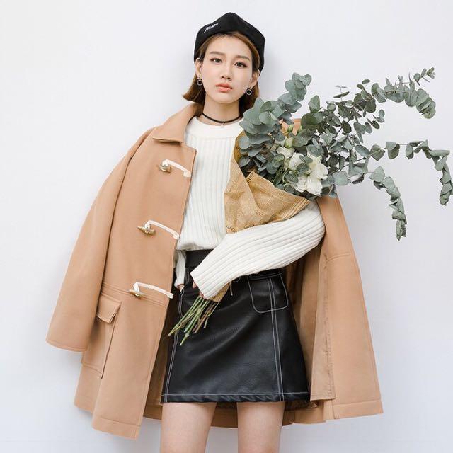 韓國牛角釦毛呢大衣