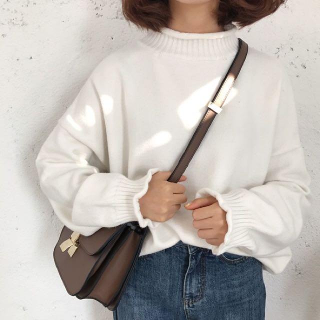 捲邊高領針織毛衣