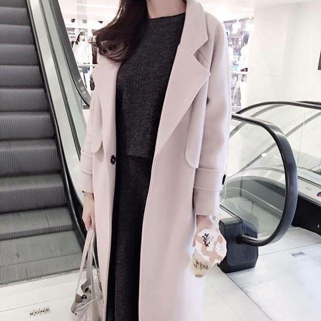 正韓氣質袖釦長版大衣