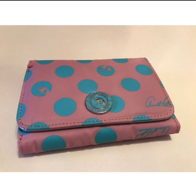 全新 真品 ARNOLO PALMER 粉紅色藍點點 防水皮夾 多夾層 中長夾 金屬色 皮夾