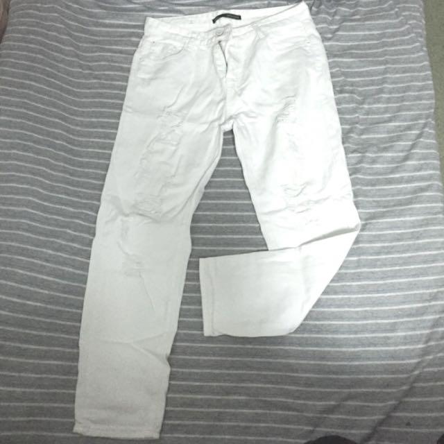 白色刷破男友褲 牛仔褲