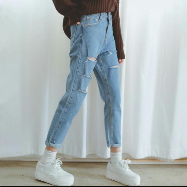 韓國 割破 寬鬆 牛仔破褲