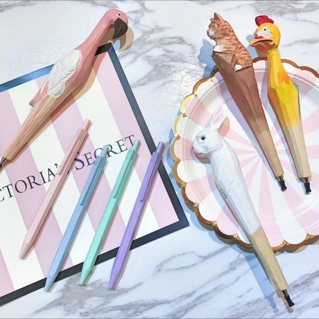 馬卡龍筆 紅鶴鳥 貓咪 小雞 兔子 木頭筆 馬卡龍 造型筆 原子筆