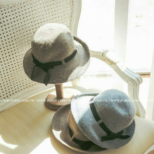 全新免運☆ 轉賣PUREE~ 法式內網紗緞帶羊毛圓帽 遮陽帽-杏咖