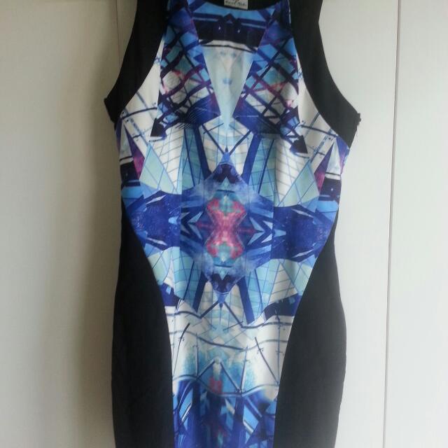 Angel Biba Blue Pattern Dress