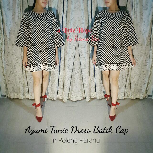 Ayumi Tunic Dress In Batik Cap Poleng Parang