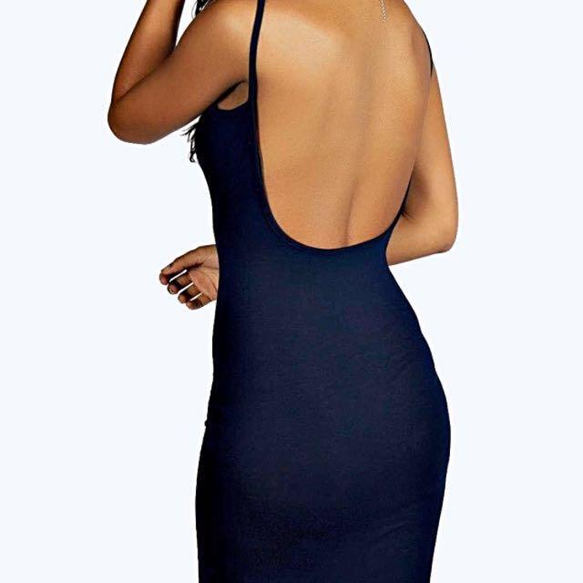 Boohoo Navy Low Back Dress