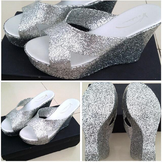 Brand New! Heels Wedge Jelly Full Glitter/ Sepatu Wanita