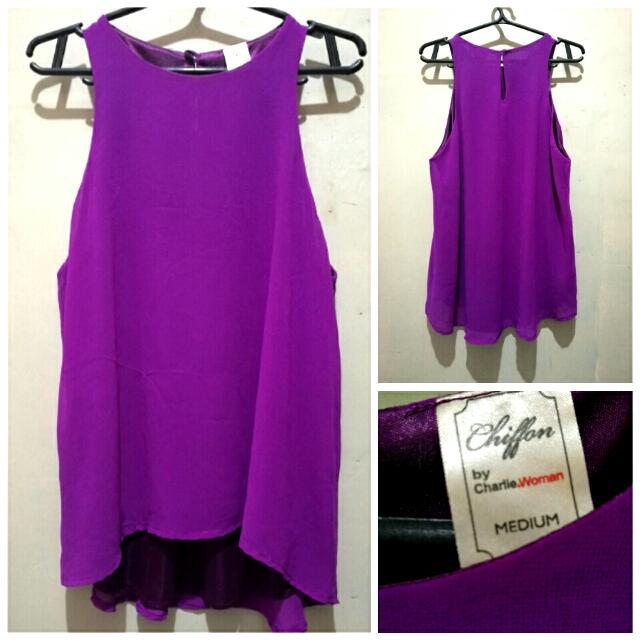 CHARLIE Sleeveless Purple Blouse