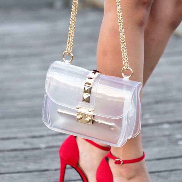 Clear Rockstud Jelly Bag