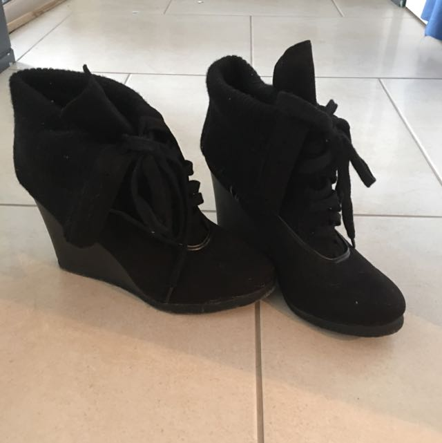 Cute Lace Up Black Ankle Boots - Brand GirlXpress