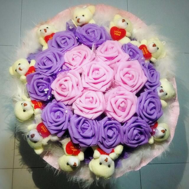 Cute Teddy Bear Plushie Purple Pink Rose Bouquet Flower for Gifts ...
