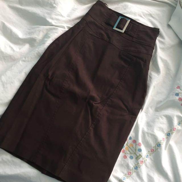 Dark Brown Le Chateau Pencil Skirt