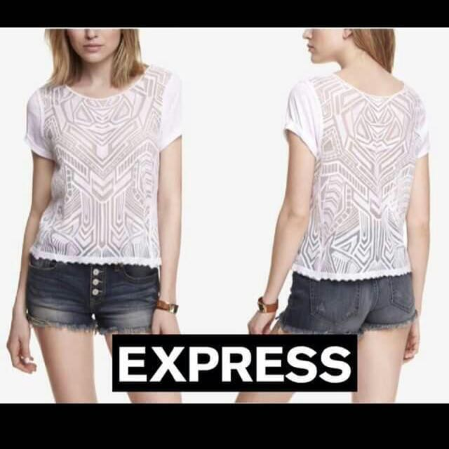 Express White Lace Top