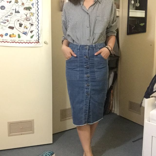 Fitted Jean Buttoned Long Skirt