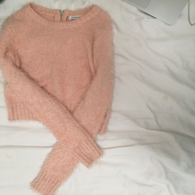 Fluffy Cropped Pink Long Sleeved Top