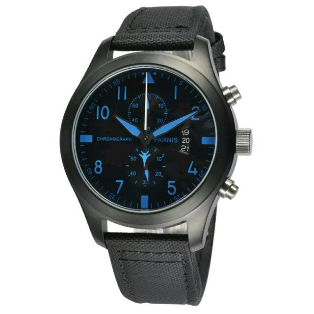 Free Express Shipping,Parnis 47mm PVD Case Blue Marks Day Date Chronograph Mens Quartz