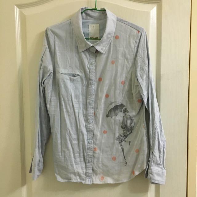 🌟gozo專櫃🌟淺藍雨傘女孩休閒襯衫