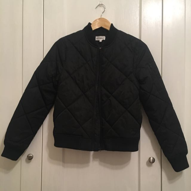 Grab Denim Quilted Bomber Jacket - Size XS