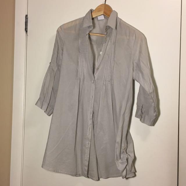 Grey Long Cotton Shirt