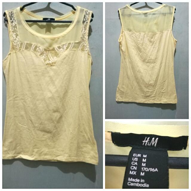 H&M Yellow Sleeveless Top