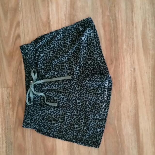 Khaki Leopard Print Shorts