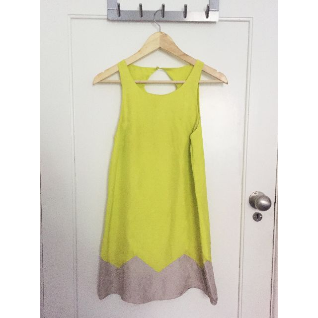 Kookai The Orchid Lime Green Dress | Size 36/6 | 100% Silk