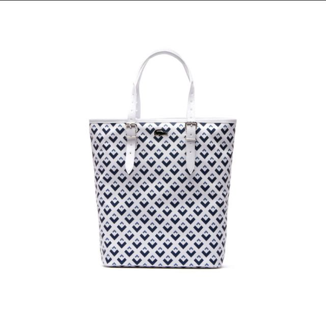 Lacoste Nelly Vertical Zip Tote In Tri Color Printed Petit Pique