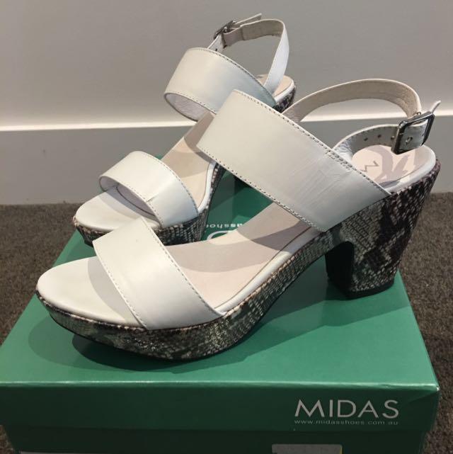 Midas White Leather Sandal