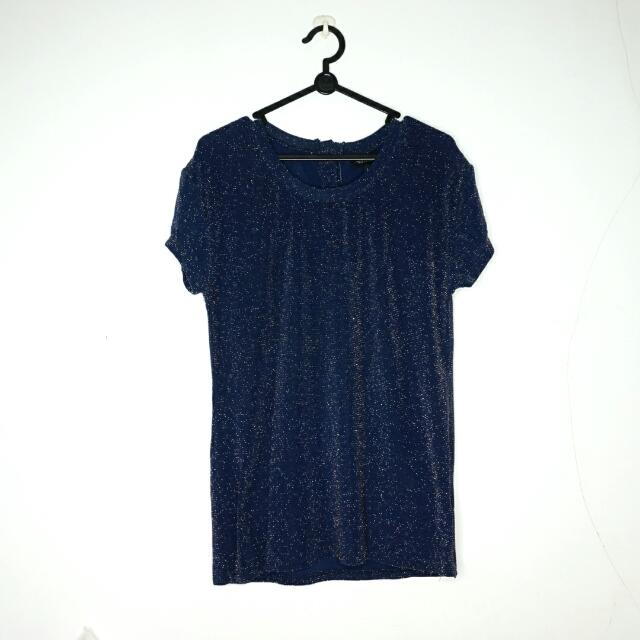 Navy Gold Glam Stretch Tee