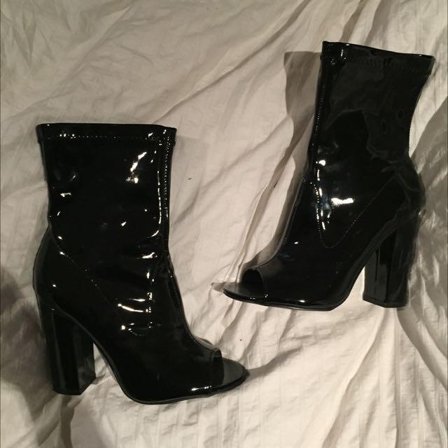 Patent Peep toe Boots