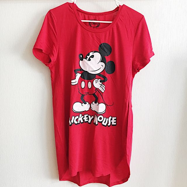 Red Mickey Slit Top