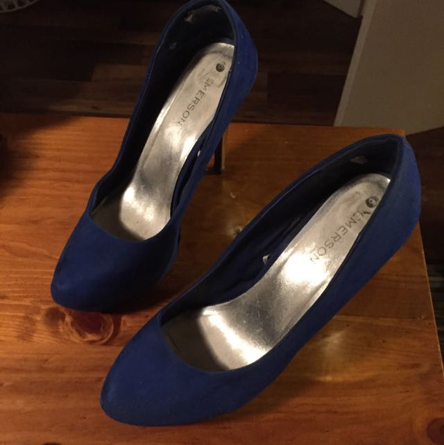 Size 10 Blue Swede High Heels. Heels Are Silver