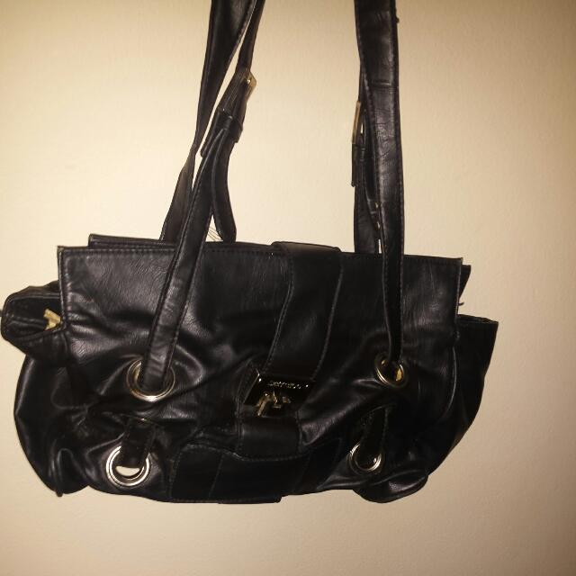 SMALL AUTHENTIC JIMMY CHOO BAG LEATHER BLACK BAG