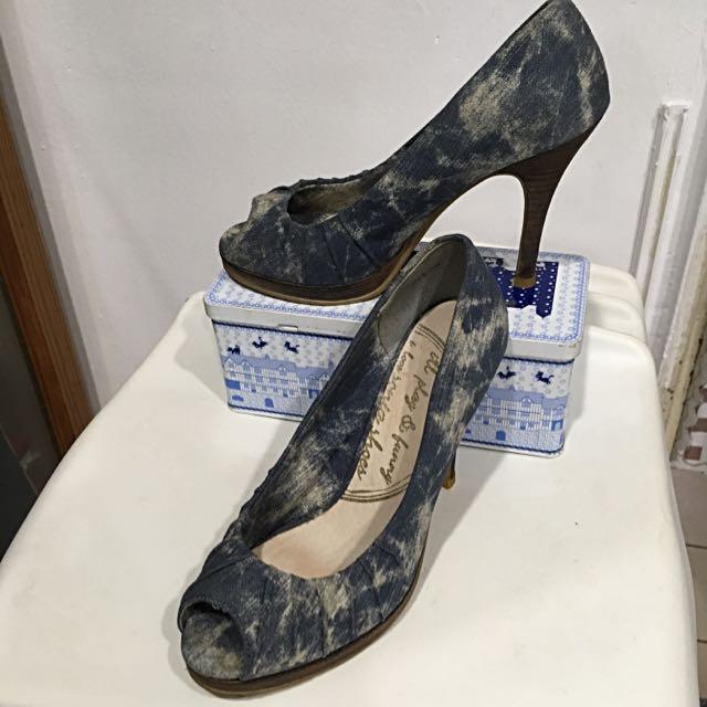 SONIA鞋牛仔布款魚口高跟鞋23.5