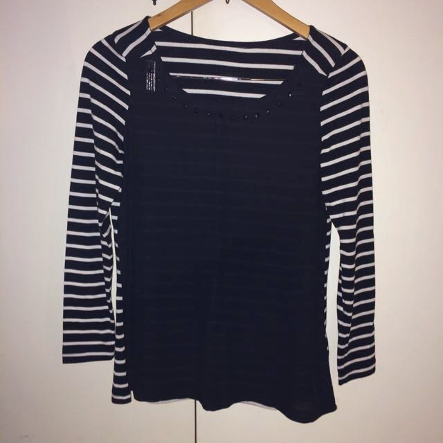 Stripe Top with Black Front