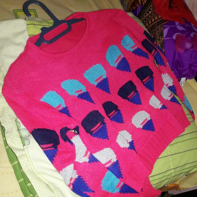 Sweater Crop  Pink Fuschia