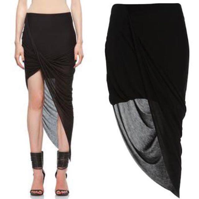 Twisted ASYM Drape Jersey Skirt - BARDOT