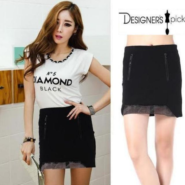 U Pencil Mesh Skirt