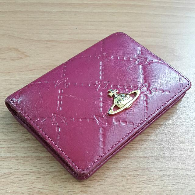 Vivienne Westwood 桃紅土星壓紋真皮名片夾