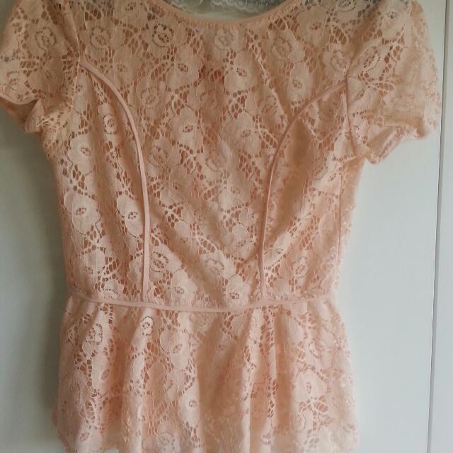 White Closet Baby Pink Lace shirt