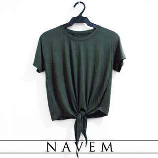 Olive Green Front Tie Top