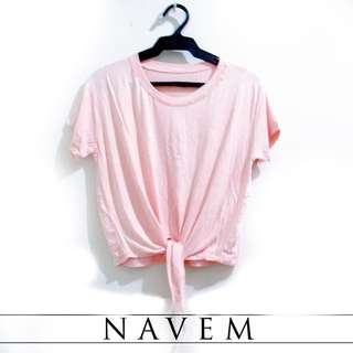 Salmon Pink Front Tie Top