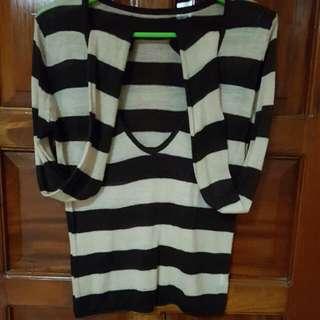Low Neckline Striped Sweater