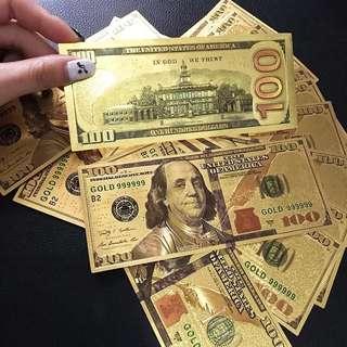 2017最新24k金箔紀念鈔彩色版100美金雙面紙幣收藏